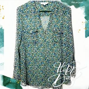 Vince Camuto Semi-sheer Medium Button-up Blouse